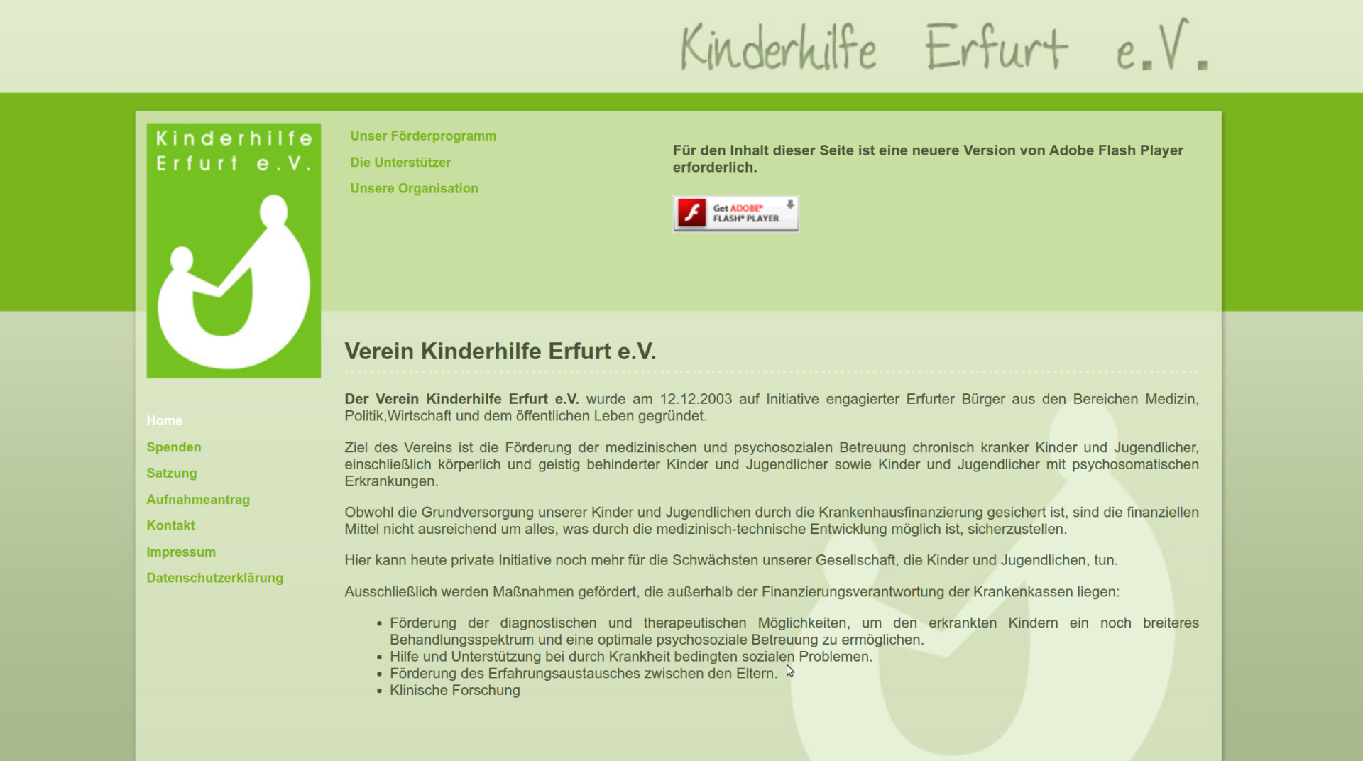 Website screenshot of the association Kinderhilfe Erfurt e.V.